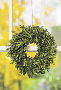 Twine used to hang fresh boxwood wreaths lends a rustic, country touch.